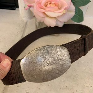 GAP Accessories - Gap silver buckle genuine brown leather belt 32
